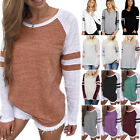Womens Casual T-shirt Long Sleeve Striped Cotton Blouse Tops