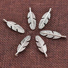 10/20/30/50Pcs Silver Feather Leaves Charms DIT Craft Pendant Fashion 21x6MM