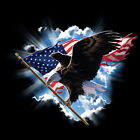 Patriotic T-Shirt USA Eagle Soaring In Clouds United States Of America Flag Tee image