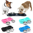 Double Dog Cat Food Bowls Set Pet Feeder With No Spill Non S
