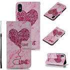 Love Marble Pattern Flip Leather Magnetic Wallet Card Stand Case Cover Fr iPhone