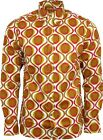 Run & Fly Mens Retro Repeat Print Long Sleeved Shirt Mod Geometric Psychedelic