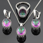 Multicolor oval Rainbow topaz 925 Silver Necklace Pendant Earring Ring Bracelet