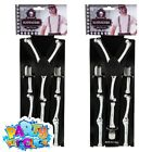 Mens Skeleton Braces Adult Halloween Bones Black and White Fancy Dress Accessory