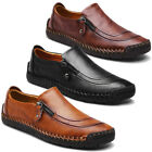 Menico Men Hand Stitching Zipper Slip-ons Leather Shoes Casual Loafers Moccasin