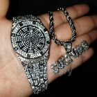 MIGOS ICED OUT WHITE GOLD PLATED LAB DIAMOND WATCH & CULTURE NECKLACE SET  image