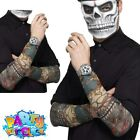 Adult Day of the Dead Skeleton Tattoo Sleeves Halloween Horror Mens Fancy Dress