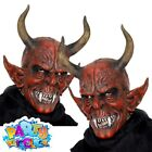 Devil Mask Red Latex Evil Demon Lord Fancy Dress Costume Accessory