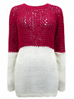 Plus Size LADIES WOMENS Cherry & Cream Color Block Long Sleeve Knitted Jumper