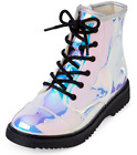 Girls Holographic Silver Lace-Up Roxi Boot 8 Sizes Zipper Fa