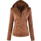 Womens Vintage Motorcycle Hoodie Leather PU Jacket Biker Coats Bomber Outerwear