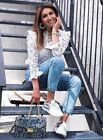 ZARA OFF WHITE COTTON DIE-CUT EMBROIDERED BLOUSE TOP  S M  6 8 10 BLOGGERS FAVE