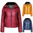 Ladies Womens Quilted Padded Zip Faux Fur Collar Puffer Jacket Top