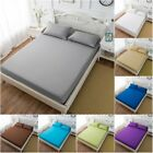 9 Size Fitted Sheet Bedding Cover Bed Sheet Pillow Case Soft Comfort Solid Color image
