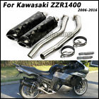 Motorcycle Connect Mid Pipe Exhaust Muffler Pipe For Kawasaki ZZR1400 2006-2016