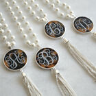 """Monogram Initial Tortoise Tassel Necklace 33"""" Long Chain Silver Personalized"""