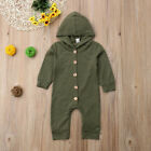 Baby Kids Boys Girls Jumpsuit Romper Hooded Bodysuit Outfit Casual Clothes 0-24M