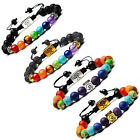 1PC Men Women 8mm Lava Rock 7 Chakras Beads Bracelet Braided Rope Natural Stone