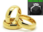 Tungsten Carbide Classic 18k Gold Plated Wedding Band Men Women Engagement Ring