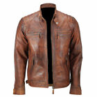 Men's Cafe Racer Brown Biker Quilted Vintage Retro Distressed Leather Jacket