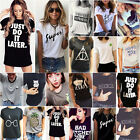 US Summer Women Casual Short Sleeve Loose T-shirts Blouse Pr