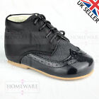 BABY BOYS SPANISH STYLE BOOTS PATENT SHOES BROGUE UK 2 TO 8 TAN NAVY BLACK