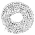 4mm 1 Row Real 925 Sterling Silver Bling Tennis Chain Necklace ANTI TARNISH