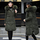 Womens Cotton Down Winter Jacket Coat Long Outwear Parka Ove