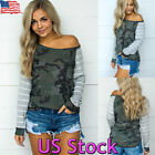 Women's Camo Off Shoulder Graphic Striped Long Sleeve Casual