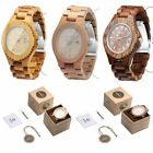 Wooden Classic Round Quartz Watch Wristwatch Calendar Luminous for LADY & MEN MX image