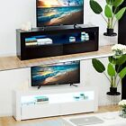 Modern High Gloss And Matt TV Unit Stand Cabinet White Black RGB LED Light 117cm
