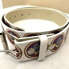 BEST QUALITY MASON LEATHER BELT MASONIC Belt Men Women Unisex WHITE