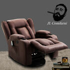 Recliner Heated Massage Armchair Wing Back Lounge Chair Vintage Retro Style