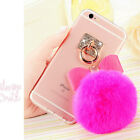 Hot Cute Luxury Bling Diamond Ring Fuzzy Plush Ball Strap Clear Phone Case Cover
