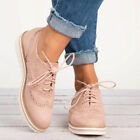 Women Flat Shoes Ladies Girls Lace Up Smart Office Vintage Oxfords Trainers Size