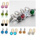 Colorful Crystal Round Cubic Zirconia Primary Hoop Dangle Earrings Women Gift
