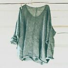US Women's Oversized Knitting Sweater Loose Blouse Pullover Plus Size Tops Shirt
