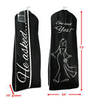 10 pcs HE ASKED SHE SAID YES Black Breathable Wedding Gown Garment Bag