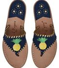 NEW Jack Rogers Gold Pineapple Leather Sandals Navy Midnight gold Thong 9.5