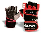 ISLERO Leather Weightlifting Gloves Gym Straps Neoprene Wrist Support Wraps FIT