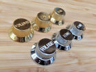 3 x Chrome or Gold Strat Electric Guitar Control Knobs Volume & Tone Metric Pots