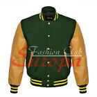College Unisex Letterman Varsity Jacket Wool & Yellow Gold Real Leather Sleeves