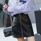 Women's Faux Leather Slim A-Line Zip Button High Waist Short Mini Skirt  S-2XL