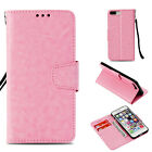 Pink Retro Light oil wallet Leather case cover with strap for iphone Samsung LG