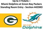 1 Green Bay Packers Miami Dolphins Standing Rm Tickets Sec 442SRO 11/11/18