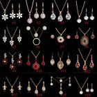 Woman Gold Plated Crystal Pendant Necklace Earrings Gold Jewelry Sets 18 Styles