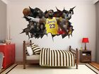 Lebron James Wall Hole 3d Decal Vinyl Sticker Decor Room Smashed Lakers Basket