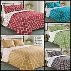 Elisa & florence - 3 Piece Reversible Quilt Set and shams Geometric. image
