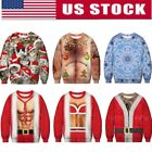 UGLY XMAS CHRISTMAS SWEATER Vacation Santa Elf Women Mens 3D Sweatshirt Pullover