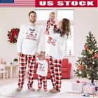 Family Matching Christmas Elk Pajamas Set Womens Kids Baby Sleepwear Nightwear